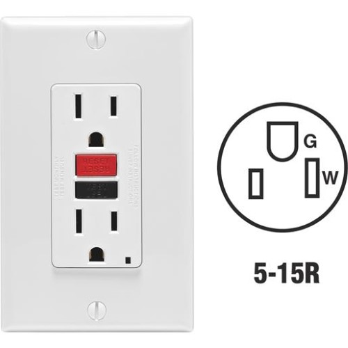 Leviton  15 amps 125 volt White  GFCI Outlet  5-15R  1 pk