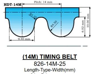 D/&D PowerDrive 1960-14M-40 Timing Belt Rubber