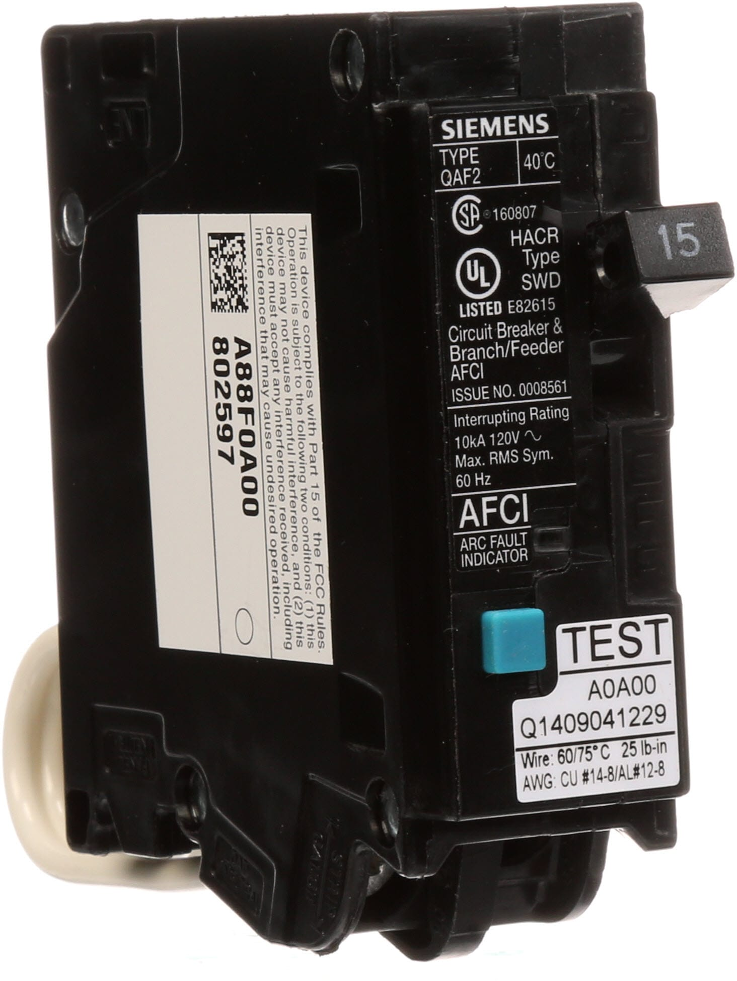 Set of 2 Siemens QA115AF 15 AMP ARC Fault Circuit Interrupter