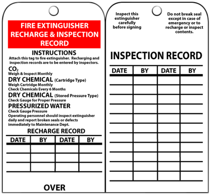 graphic regarding Printable Fire Extinguisher Inspection Tags identified as Nationwide Marker RPT26