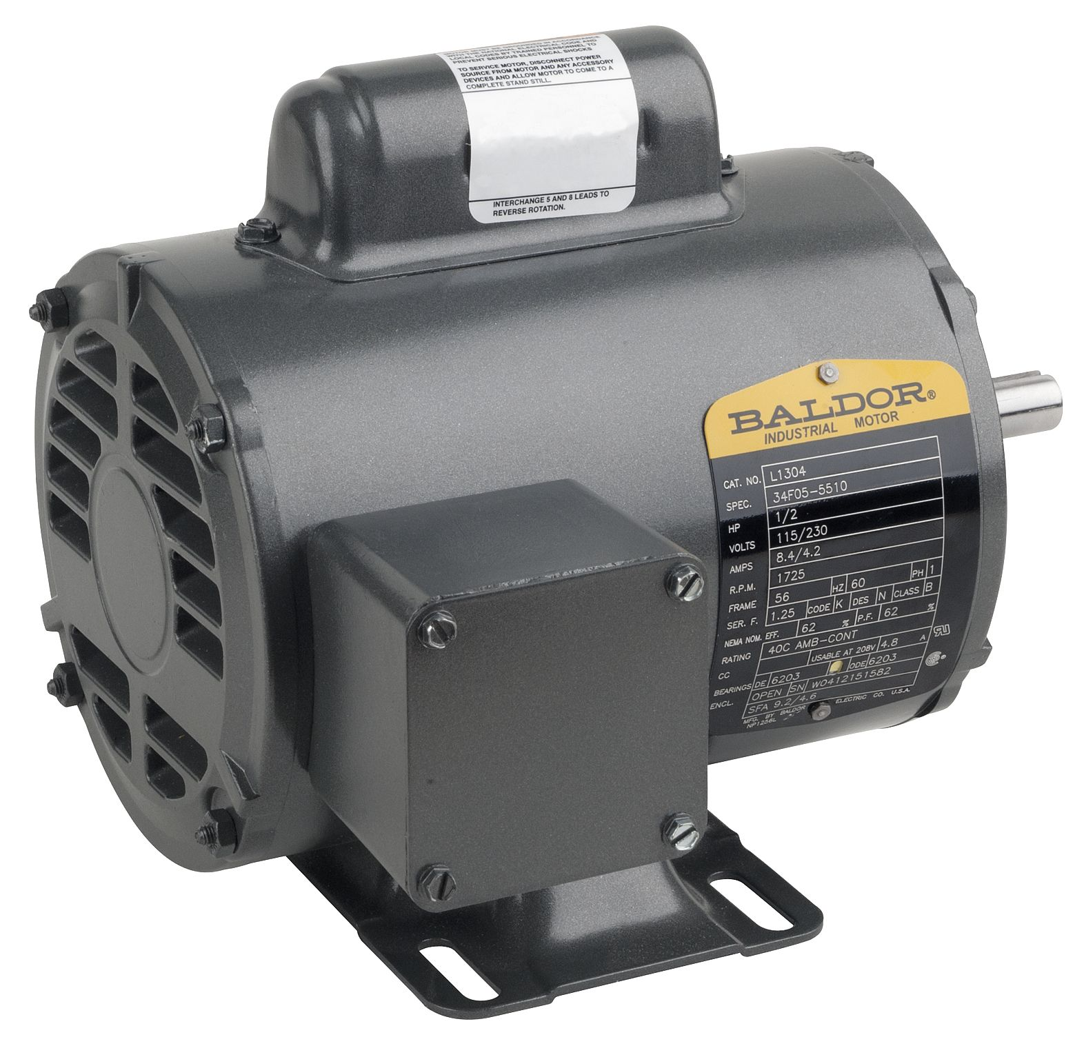 L1405t baldor for Baldor industrial motor parts