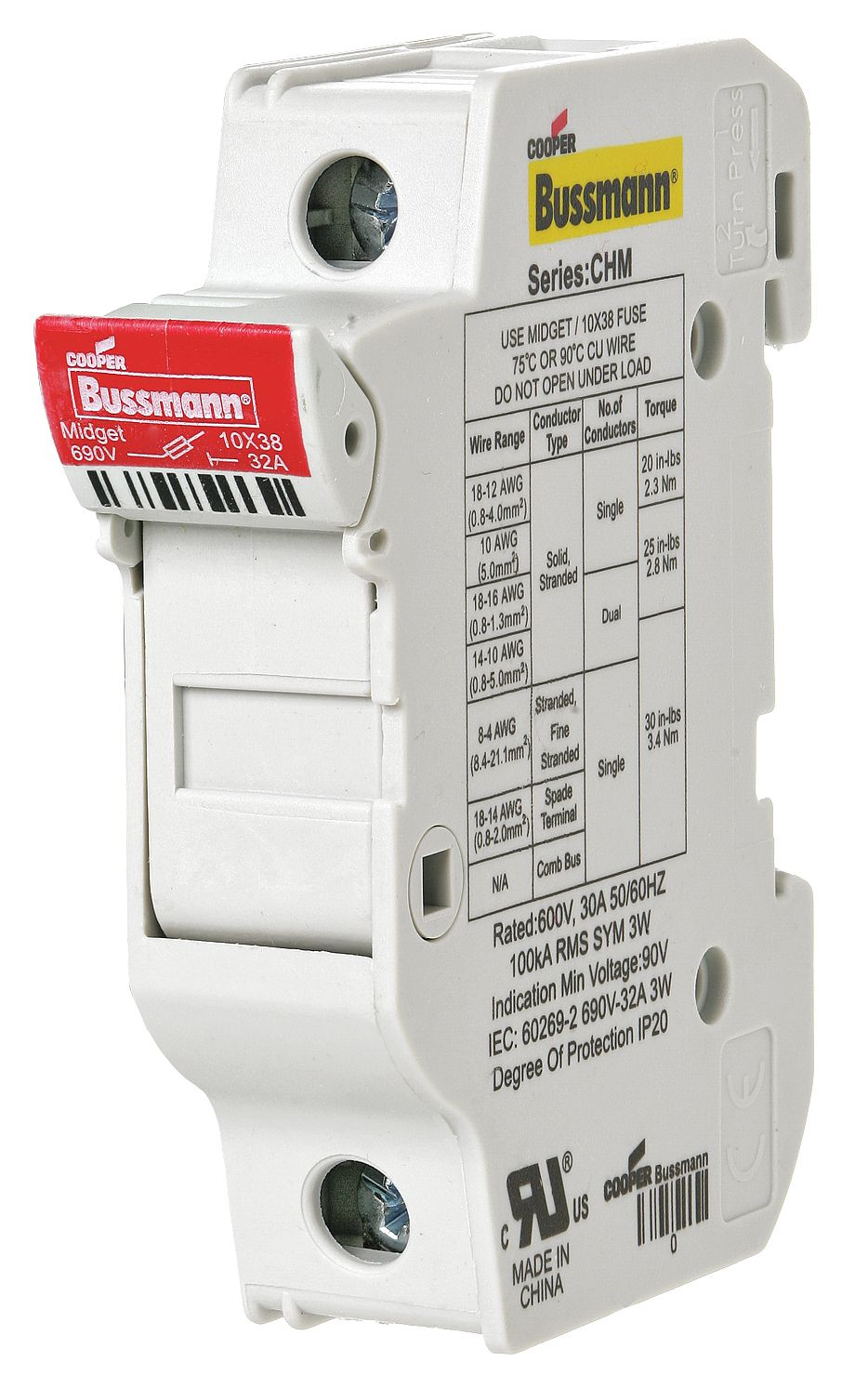 Chm1du Cooper Bussmann Datasheet 30 Amp Screw In Fuse Box