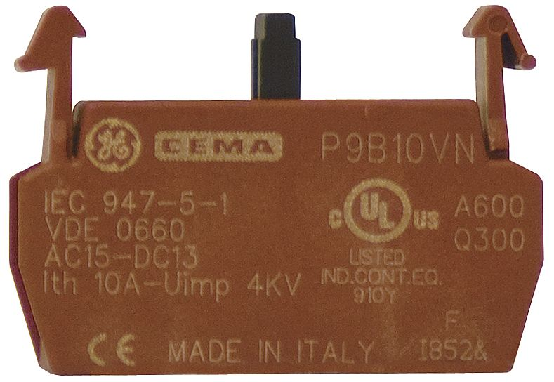 Lot of 2 General Electric Cema P9B10VN Contact Block