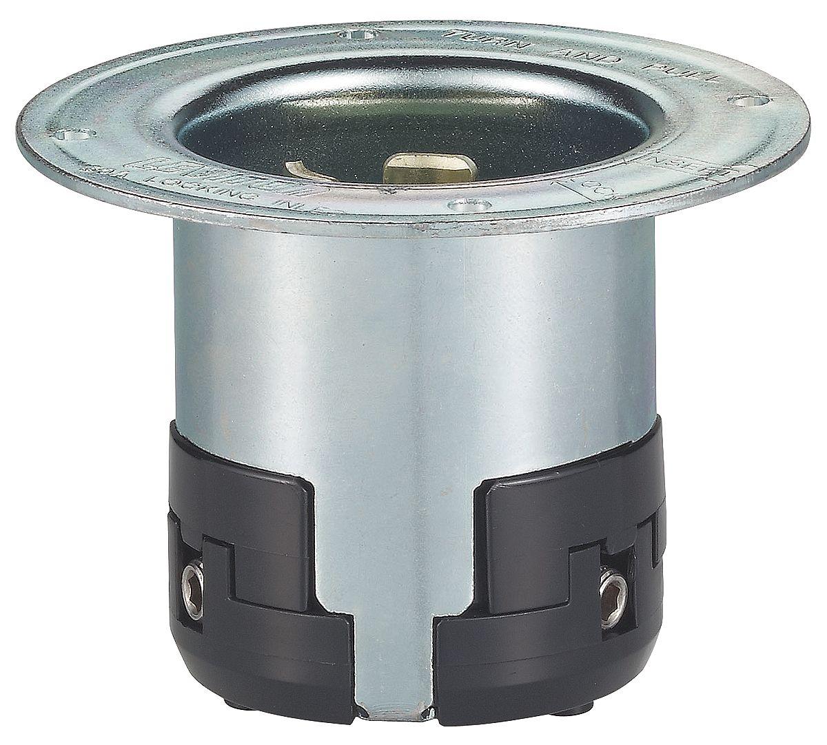 50A Flanged Locking Inlet 2P 3W 125VAC GY LEVITON 6377-CR