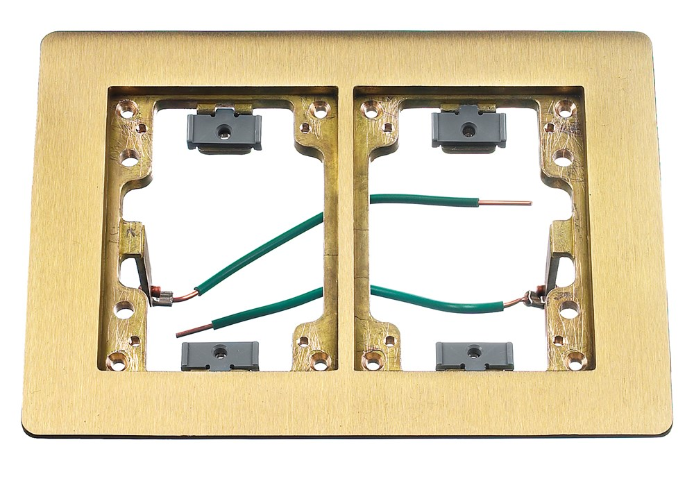 HUBBELL SYSTEMS SB3084 BRASS 2-GANG CARPET FLANGE RECTANGULAR