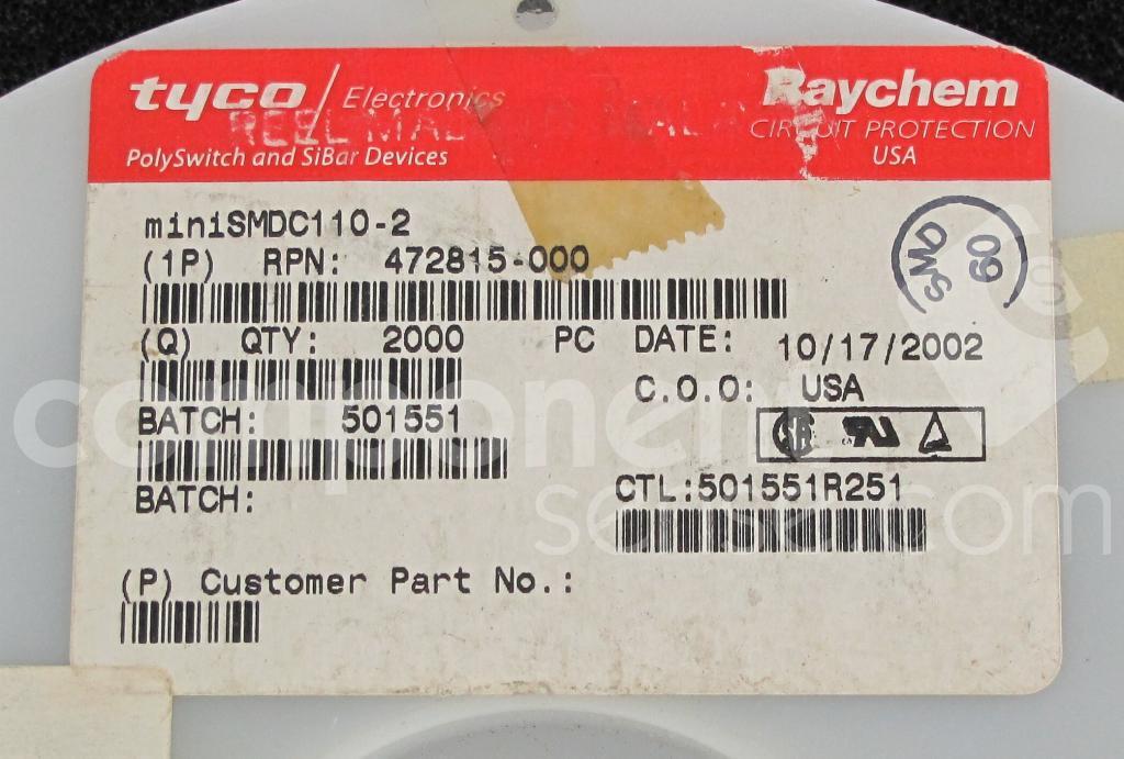 MINISMDC110-2 - TE Connectivity / Raychem - MINISMDC1102 - datasheet