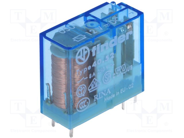 40. 52. 7. 024. 0000 | finder dpdt non-latching relay pcb mount, 24v.