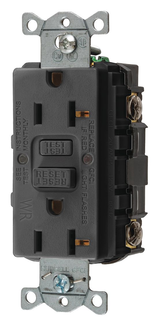 GFCI Rceptcle,Commer.,Blk,20A,1 HP HUBBELL WIRING DEVICE-KELLEMS GFWRST20BK